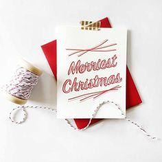 Merriest Christmas New Card - Steel Petal Press Christmas Cards, Merry Christmas, Xmas, Letterpress, Vintage Inspired, Envelope, Greeting Cards, Place Card Holders, Lovers