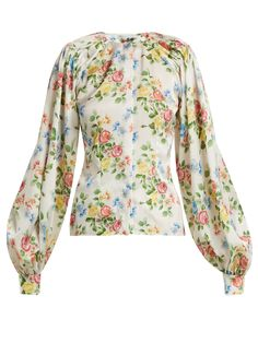 Margot floral-print satin blouse   Emilia Wickstead   MATCHESFASHION.COM  US. Белый Атлас  Атласные Блузки ... ab29bdf7fd0