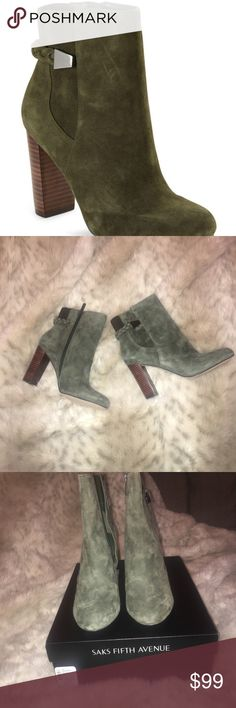 NWT agreed Suede Ankle Boots From Saks Fifth Ave ✨LUXE ✨ New Green Ankle Boots in Suede by Saks Fifth Avenue. Saks Fifth Avenue Shoes Ankle Boots & Booties