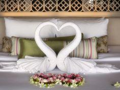 Towels Shaped into Loveheart in Villa, Shore, Katathani Resort, Kata Noi Beach, Phuket, Thailand Bed Pillows, Destination Wedding, Pillow Cases, Villa, Phuket Thailand, Shapes, Towels, Holiday, Beach