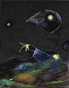 Max Ernst (1891-1976) Nocturne signed 'max ernst' (lower right) oil on panel laid down on panel Image size: 16 1/8 x 12 7/8 in. (41 x 32.8 cm.) Mount size: 24¾ x 21 5/8 in. (62.9 x 54.9 cm.) Painted in 1967