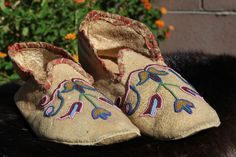 Vintage Pair of Quilled Santee Sioux Indian Moccasins