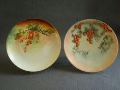 Pr, of Home Studio Hand Painted Cabinet Plates w/Currant Motif