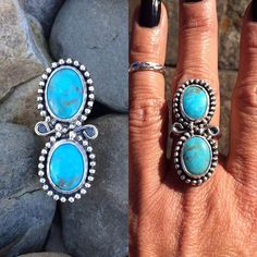 stonedsilverjewelry - Double oval #KingmanTurquoise and #Ring Click the link in my bio to view entire store and purchase #etsyalternative #mygypsystore #turquoise #turquoiseoverdiamonds #turquoisejewelry #get_rocked #turquoiseaddict #OOAKjewelry #silver #sterling #customjewelry #statement #hippie #gypsy #beach #southwest #boho #handcraftedwithlove #riojeweler #ladysmithy #instasmithy #artisan #craftsman #アメリカインディアン #ターコイズ #銀 #stonedsilverjewelry