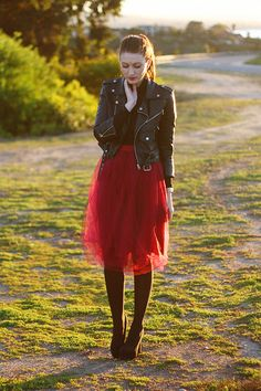 Ruby-red-diy-skirt - I love this so much, and with that jacket! I am so making this!