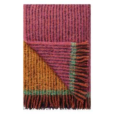 Wonderfully soft and warm, this stunning brushed mohair throw features a bold scale stripe with broad central over-check. Woven in rich tones of fuchsia pi Wallpaper Samples, Fabric Wallpaper, Mohair Throw, Pink Throws, Living Room Essentials, Paint Samples, Buy Fabric, Designers Guild, Katana