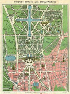 1920s Leconte Map of Versailles Gardens