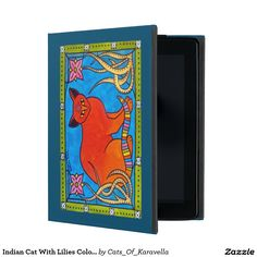 Indian Cat With Lilies Colorful Cat Design iPad Folio Case. Cat Art by Dora Hathazi Mendes from Cats Of Karavella Collection. by #dorahathazi for #catlovers
