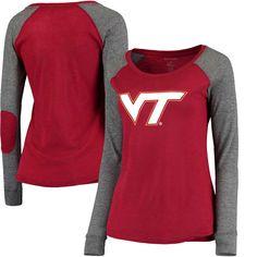 Virginia Tech Hokies Women's Preppy Elbow Patch Slub Long Sleeve T-Shirt - Garnet/Gray - $23.99