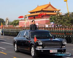 Chairman of the Central Military Commission Hu Jintao inspecting the PLA in his Hongqi CA7600L limousine at the 2009 Chinese National Day Parade.