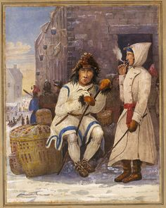"""Indian and French Canadian, Market Place, Quebec"" by John Crawford Young (1825-1827) at the National Gallery of Canada, Ottawa - While this is a 19th century depiction, the French-Canadians and the First Nations peoples have been borrowing from each other culturally ever since the earliest French colonization in Canada.  It used to drive the French authorities and clergy nuts, seeing their colonists become far too ""wild"" for their tastes."