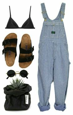 Yeah i like to carry a plant w/me around the damn city just cause it looks good with my outfit - I Birkenstock Outfit, Black Bralette, Stylish Outfits, Cute Outfits, Fashion Outfits, Spring Outfits, Spring Summer Fashion, Look Primavera, Cooler Look