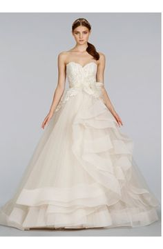 WEDDING DRESSES: LAZARO Sweetheart Princess/Ball Gown Wedding Dress  with Empire Waist in Tulle. Bridal Gown Style Number:32951543