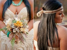Rustic Fall Wedding Bouquet Fairy Tale - Pocahontas - Sassy Princess Bride Series - Sassy Mouth Krystalized Designs