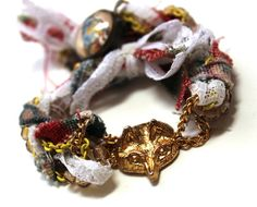 Fox and Bird Braided Fiber Bracelet  Reversible by BeJeweledNH, $36.00