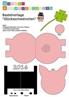 Kurz vor Sylvester haben wir noch eine kleine Bastelvorlage für Euch: Ein Glücksschweinchen aus Tonkarton. Bastelvorlage für ein Glücksschweinchen zu Sylvester Passend zum Jahresabschluss haben wir noch ein kleines Bastelprojekt in Form eines Schweinchens aus Tonkarton vorbereitet: Das PDF mit d...