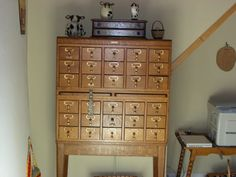 """THE INSIDE STORI BY MARY STORI: STUDIO STORAGE IDEAS"" She uses this card catalog for her threads. I can't tell the brand (maybe Gaylord Bros.), but it's clearly modular -- a top, two 5 X3s, a 2-shelf unit, and a base. I love the versatility of this kind."