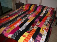 Patchwork Quilt from clothing scraps DIY =]