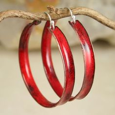 Really Red Hoop Earrings Copper Enamel