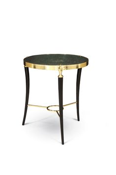 Three elegant Victorian cast brass hands on a delicate tripod base hold iridescent peacock feather top. This luxurious table is sure to be a showstopper in any room.