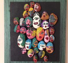 Renkli suratlar-1 taş boyama Doğadan toplanan taşlar akrilik boya ile boyayıp, Ahşap pano üzerine.... 266443 Pebble Painting, Pebble Art, Stone Painting, Inspirational Rocks, Dora, Creative Arts And Crafts, Painted Rocks Kids, Rock Painting Ideas Easy, Camping Crafts