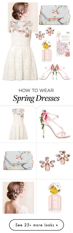 """""""Spring Dream"""" by mariemoon on Polyvore featuring RED Valentino, Dolce&Gabbana, Marchesa, Ted Baker, Marc Jacobs and Elegant Touch"""