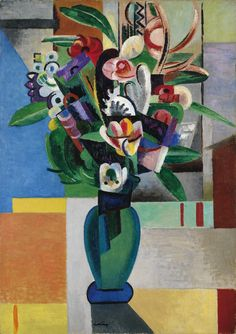 Composition au Bouquet by Auguste Herbin, 1911 Art Day, Modern Art, Colorful Art, Flower Painting, Cubism Art, Floral Art, Abstract Painting, Painting, Abstract