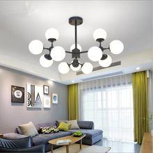 Industrial creative 8/12/16 lights black iron glass chandelier D110cm 43.3'' living room bedroom hotel loft LED chandelier light(China)
