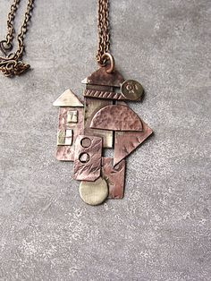 Abstract Little Town Pendant Necklace Mixed Metal Copper Brass Pendant Boho Rustic Necklace Copper House Necklace Rustic Brass Home Pendant by MaryBulanova on Etsy