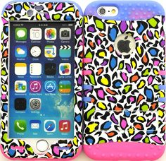 """Amazon.com: White, Black and Purple """"Colorful Leopard Spots with Non-Slip Grip Texture"""" 3 Piece Layered ULTRA Tuff Custom Armored Hybrid Case for the NEW iPhone 6 Plus 5.5"""" Inch Smartphone by Apple {Made of Soft Silicone Gel and Hard Rubberized Plastic with External Built in Kickstand} """"All Ports Accessible"""": Cell Phones & Accessories"""