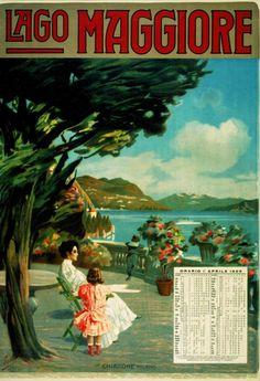 1909 Lago Maggiore, Orario 1 aprile 1909 Archivio Iconografico del Verbano Cusio Ossola Svizzera poster viaggio