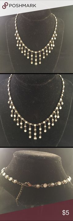 #6oz Grey & Crystal Dangling Beaded Necklace #a Excellent condition Jewelry Necklaces