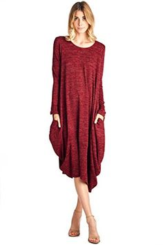 12 Ami Asymmetrical Heathered Sweater Knit Midi Dress Red XL >>> You can find more details by visiting the image link.