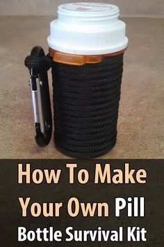 Survival At Home has a tutorial on how to make a survival kit with a prescription bottle and 18 items including paracord, matches, a mini flashlight, etc. #SurvivalistAtHome