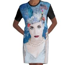 Graphic T-Shirt Dress - Winter has arrived! Snowflake is an anti-trump administration, political protest artwork by artist Nola Lee Kelsey. This very detailed design includes images of the US Constitution, Stature of Liberty, Lady Justice, a pink pussy hat, American flag, bang eagle, naked statue of Donald Trump along with famous government buildings in Washington DC, America's capitol, all enveloped by a blizzard.