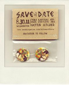 Alternative wedding save the date badges pins