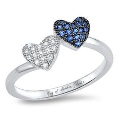 A Blue Sapphire & Russian Lab Diamond Pair of Hearts Promise Ring - Joy of London Jewels Heart Promise Rings, Heart Ring, Black Gold Jewelry, Lab Diamonds, Bridesmaid Jewelry, Custom Jewelry, Blue Sapphire, Sterling Silver Rings, Women Jewelry