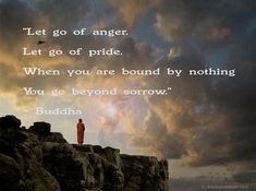 """""""Let go of anger. Let go of pride. When you are bound by nothing you go beyond sorrow."""" ~ Buddha"""