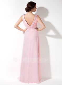 Corte A/Princesa Escote en V Vestido Chifón Dama de honor con Volantes Bordado (007017157) - JJsHouse