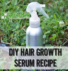 DIY Hair Growth Serum Recipe - This natural hair growth serum combines herbs like nettle and horsetail with aloe vera gel and essential oils of lavender, rosemary and clary sage.