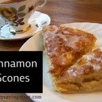 Glazed Cinnamon Scones Recipe 2 cups flour  2 teaspoons baking powder 1/2 teaspoon baking soda 1/2 teaspoon salt 1/2 cup butter 1 egg, separated 3 Tablespoons honey 1/3 cup buttermilk  Crumb Topping (can be adjusted to your liking): 1-2 Tablespoons turbinado (or sugar) 1/2 teaspoon cinnamon Glaze: 1 cup powdered sugar  1-3 teaspoons milk (enough to make a glaze) 1/2 teaspoon vanilla