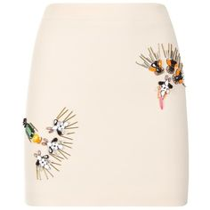 Stella McCartney Becca Abstract Embellished Mini Skirt (8 160 SEK) ❤ liked on Polyvore featuring skirts, mini skirts, beaded mini skirt, straight skirt, metallic mini skirt, pink mini skirt and short mini skirts