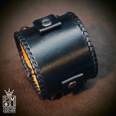 Leather bracelet cuff Black vintage Johnny Depp by mataradesign