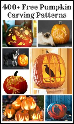 Free Pumpkin Carving Patterns & Templates - - Over 400 free pumpkin carving patterns for everyone from beginners to experts to help you make the most amazing carved pumpkins on the block this Halloween! Holidays Halloween, Fall Halloween, Halloween Crafts, Holiday Crafts, Holiday Fun, Halloween Decorations, Happy Halloween, Halloween Quotes, Halloween Prop
