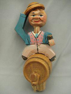 Vintage Wooden Carved Mechanical Cork Bottle Toppers/Stoppers Beer Barrel Rider