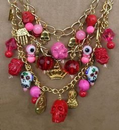 Skelton Arts' Shanghai charm necklace detail - bottom row of charms is a detachable bracelet.