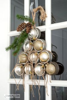 Ornament tree wreath / Industrial Christmas decor from canning jar rims! By Funky Junk Interiors for ebay.com