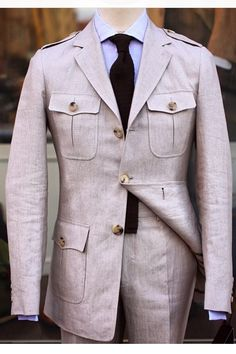 Safari jacket in the form of a suit with a matching pair of trousers. Would be quite interesting during the summer.