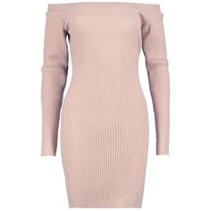 Boohoo Georgia Rib Knit Bardot Jumper Dress | Boohoo ($22) ❤ liked on Polyvore featuring tops, sweaters, wrap top, marled sweater, pink turtleneck, sequin top and party jumpers