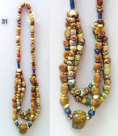 Anglo-Saxon glass bead necklace from Eastry House in the Dover Museum, Kent, England. Medieval Jewelry, Viking Jewelry, Ancient Jewelry, Stone Jewelry, Antique Jewelry, Ethnic Jewelry, Beaded Jewelry, Beaded Bracelets, Iron Age